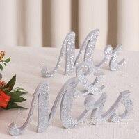 12 Wooden silver Bling Bling Wedding Decor Mr & Mrs letter centerpieces marrige mr and mrs letter tabble decoration
