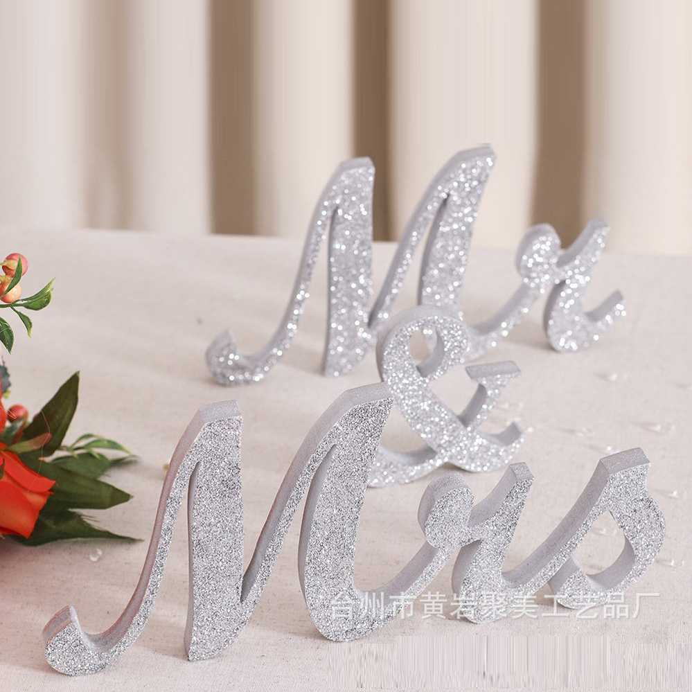 12 Wooden silver Bling Bling Wedding Decor Mr & Mrs letter centerpieces marrige mr and mrs letter tabble decoration
