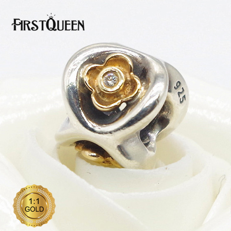 FirstQueen 925 Silver & 14 Gold Perfect Posies Bead Fit Original Bracelets DIY Charms For Jewelry Making Fine Jewelry