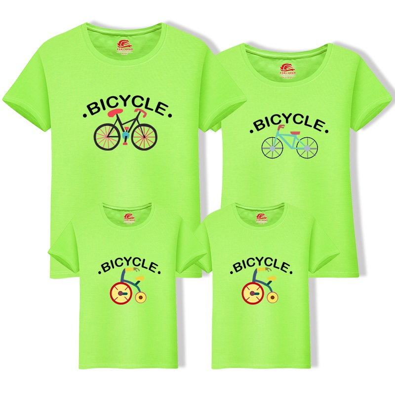 Family T-shirt Cotton Short Sleeve Top Tee For Men Women Kid Summer Family Look Bicycle Print Casual T shirt For Adult Teenagers peach print tee