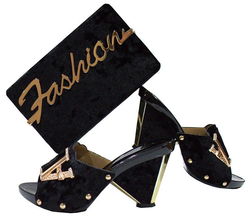 High heel shoes and bags set 2018 gold Woman matching italian shoe and bag set new fashion italian style woman matching shoes and bags set thin high heel shoes and bag for party free shipping hkb1 12