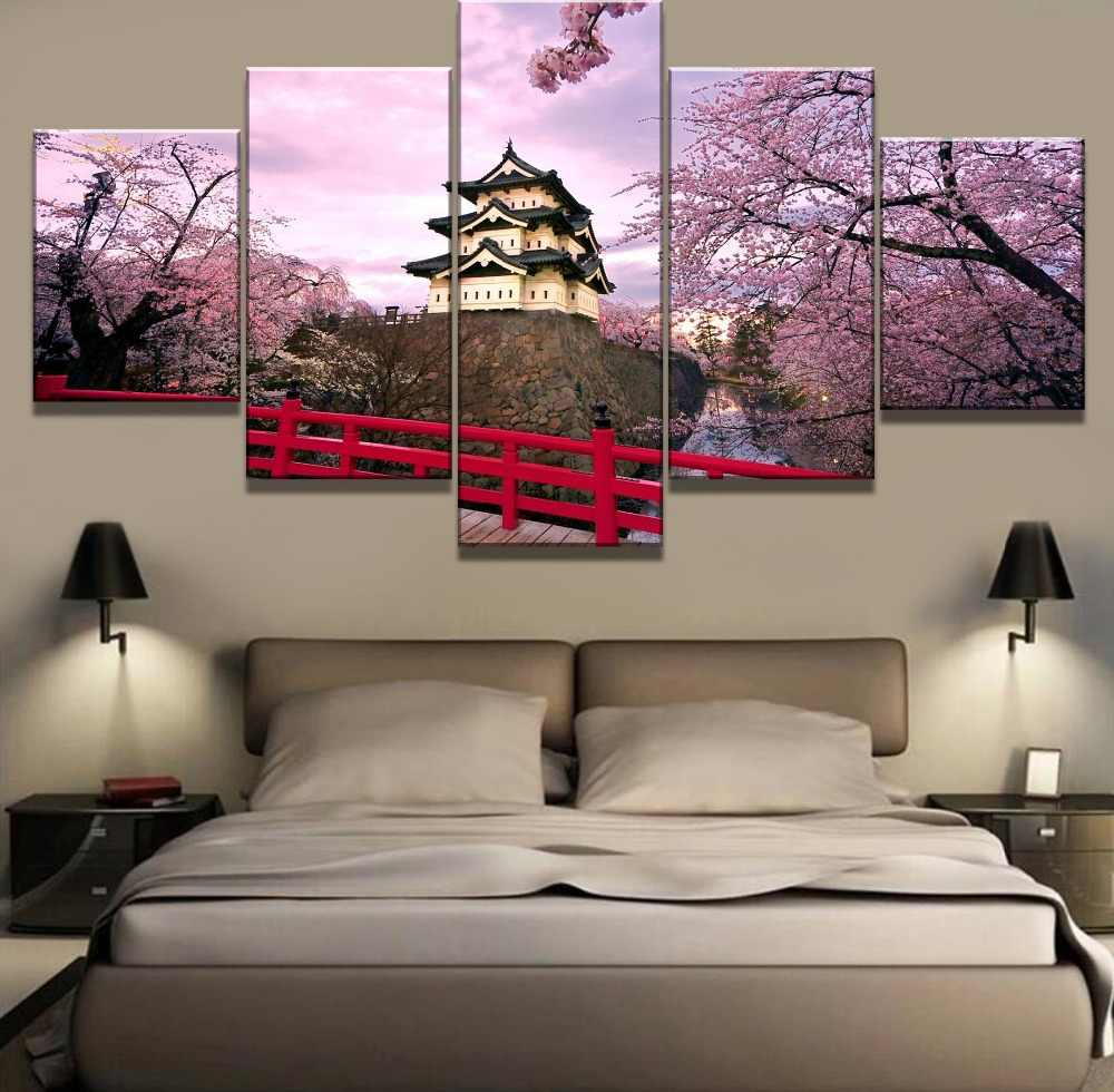 Frame 5 Piece HD Print Painting Cherry Blossom Japan Cuadros Landscape Canvas Wall Art Home Decor For Living Room Unique Gift