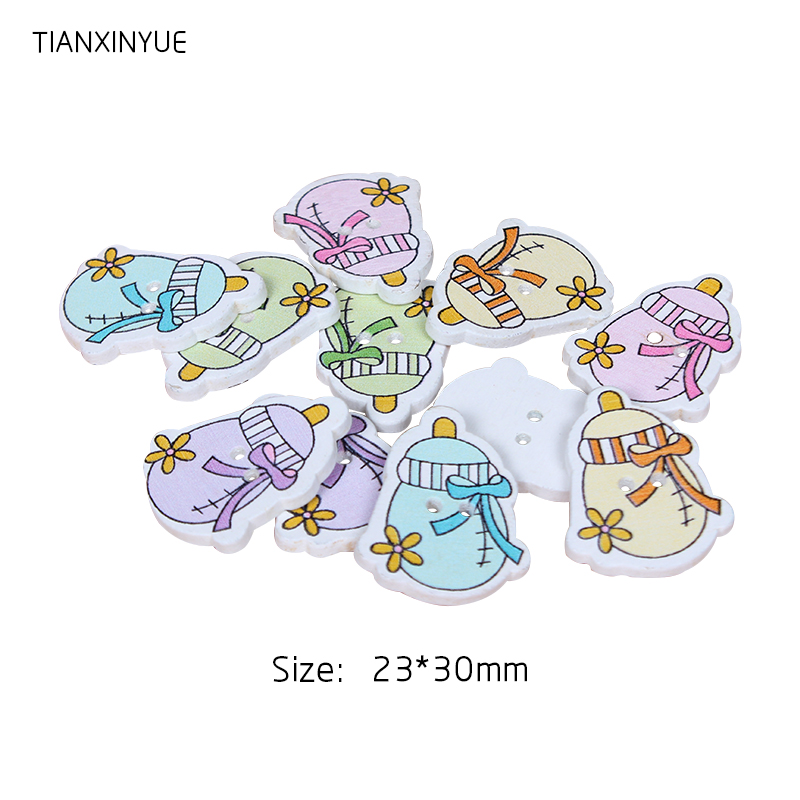 TIANXINYUE 23x30mm Baby bottle Buttons Sewing Scrapbooking Random color Two Holes Wood Buttons,DIY Clothing Accessories