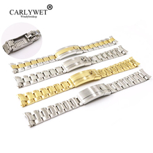 CARLYWET 20mm Two Tone Rose Gold Silver Solid Curved End Screw Link New Style Glide Lock Clasp Steel Watch Band Bracelet  все цены