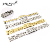 CARLYWET 20mm Two Tone Silver Solid Curved End Screw Link New Style Glide Lock Clasp Bracelet For Submariner Oyster GMT