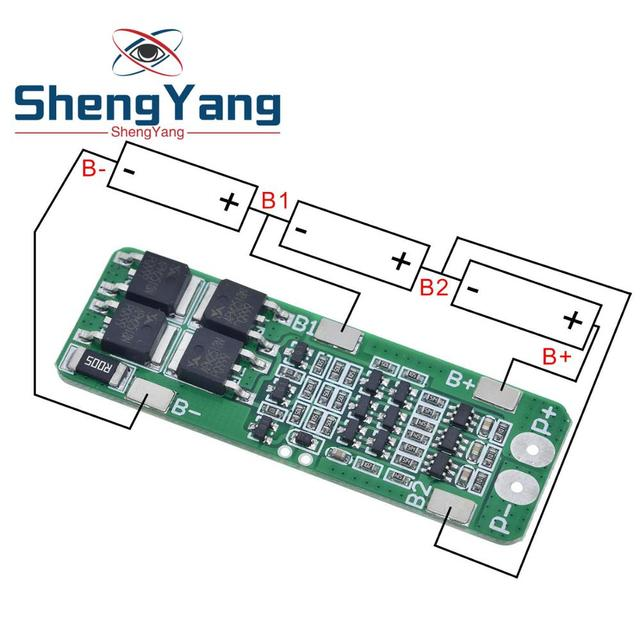 3S 20A Li ion Lithium Battery 18650 Charger PCB BMS Protection Board For Drill Motor 12.6V Lipo Cell Module 64x20x3.4mm