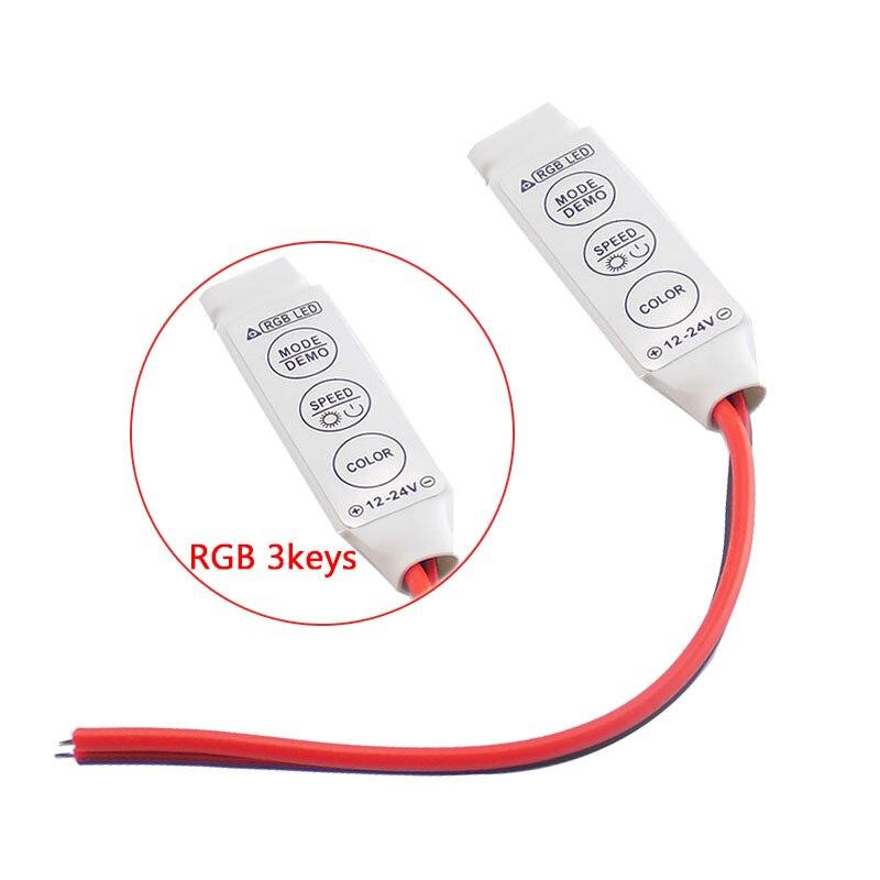 1 шт. Светодиодные ленты RGB контроллер Диммер DC 12 В светодиодный один Цвет мини 3Key контроллер для SMD 5050 3528 5730 Светодиодные ленты свет