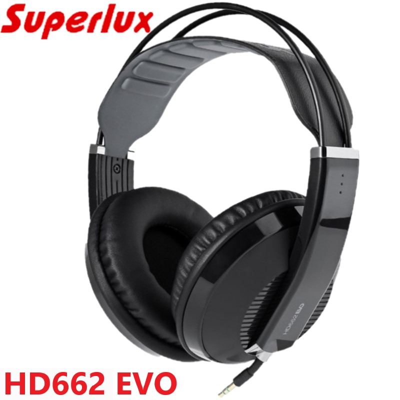 Superlux HD662EVO closed back monitoring headphone gaming headsets with removable earmuffs self adjusting headband white black