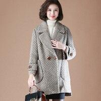 Высокое качество шерстяное пальто женское 2019 зимнее пальто модное двубортное шерстяное пальто с длинным рукавом Женские Длинные куртки эл