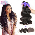 Brazilian Virgin Hair Body Wave 3 Bundles With Closure 7A Grade Brazilian Body Wave Human Hair Bundles With 4*4 Lace Closure