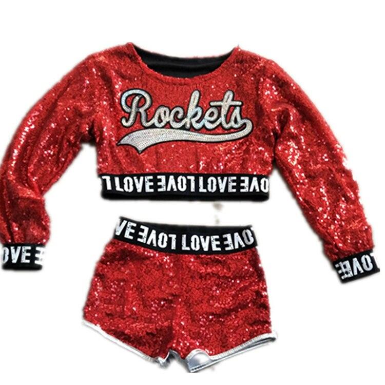 Red Kids Children Sequin Hip Hop Dance Costume Sparkly Stage Jazz Dance Costumes Suit Girls Crop Top And Pants