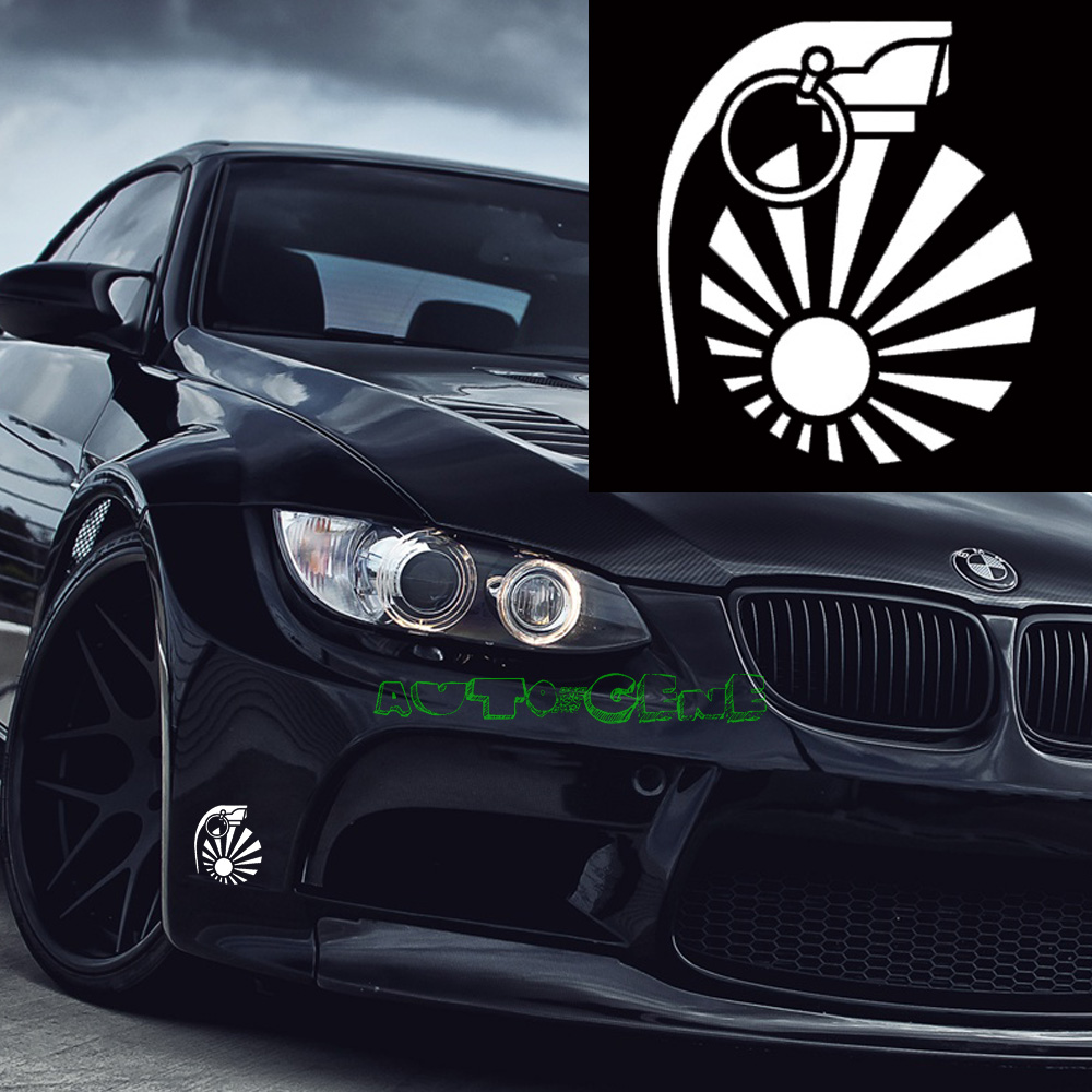 Car stickers design hd - 1x Jdm Rising Sun Grenade Drift Turbo Euro Fast Vinyl Car Sticker Decal China