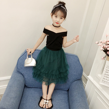 Fashion Summer Children Sets Cotton Vest + Skirt For Baby Girls Off Shoulder Solid Sleeveless Kids' Clothing Suits Skirts 2Pcs fashion 2019 children girls spring fall skirt sets solid lace t shirts plaid skirts kids cotton princess clothing sets 3 14yrs
