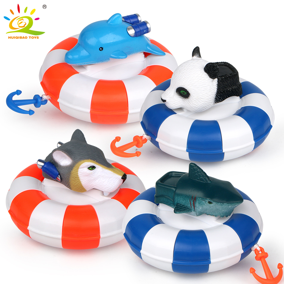 HUIQIBAO TOYS 4PCS Newborn Cartoon Animal Lifebuoy Baby Bath Toys Infant Swimming Chain Clockwork Classic Kid Educational Toys