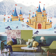 Custom wallpaper murals cute snow scene castle oil painting childrens room wall - high-grade waterproof material