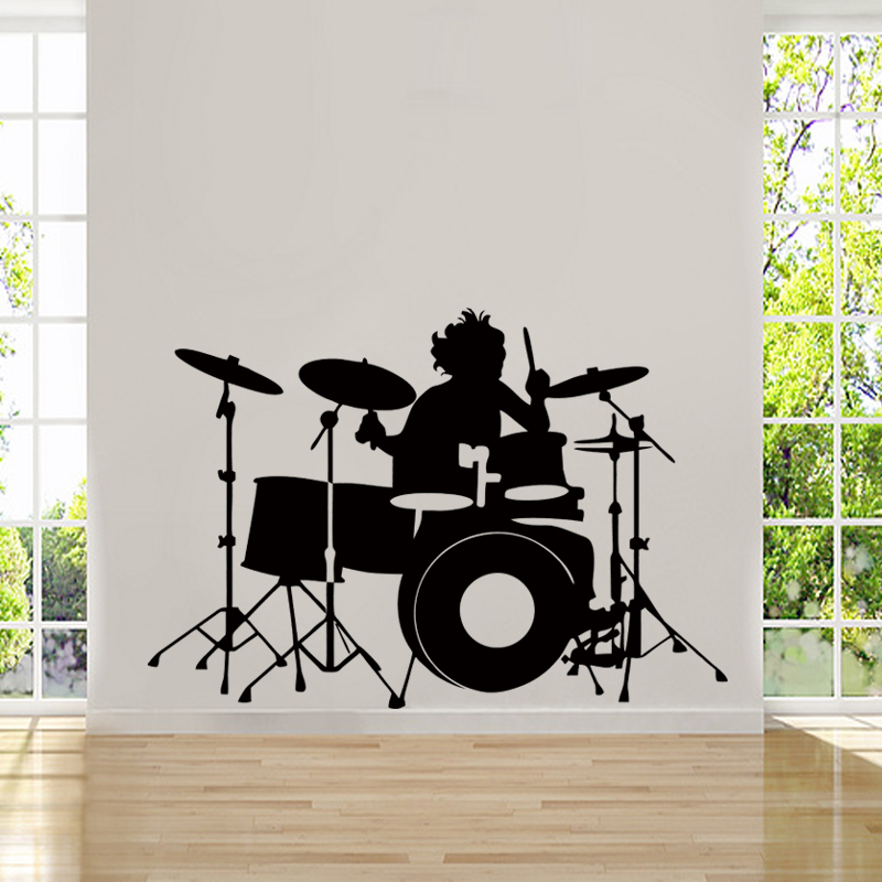 Hot Sale Personality Drummer Silhouette Rock Band Musicians Band Logos Wall Sticker Home Decor Music Vinyl