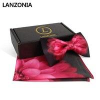 Lanzonia Men's Designer Wedding Red Flower Print Satin Bowtie and Pocket Squares Bow Tie Set