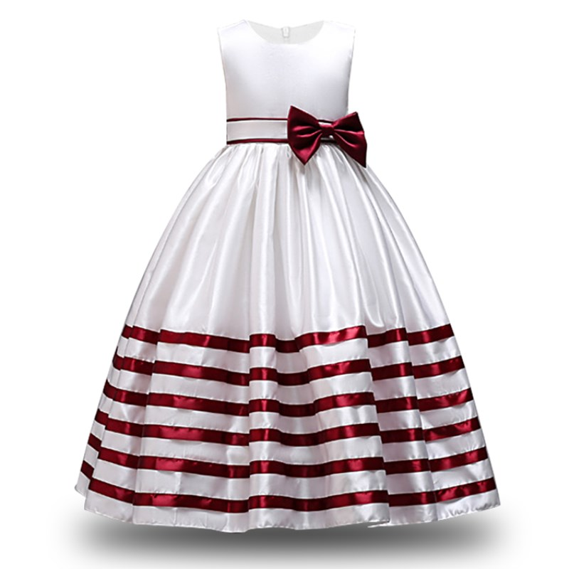 a2c40c429e7 ... Kid Formal Flower Girl Dresses Striped Bowknot Design Ball Gown For  Wedding and Party Children s Costume ...