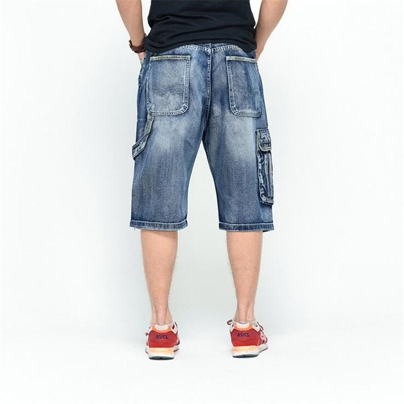 ABOORUN 2016 Classic Mens Cargo Denim Shorts Hip Hop Multi Pockets Baggy Jeans Shorts Plus Size P3082