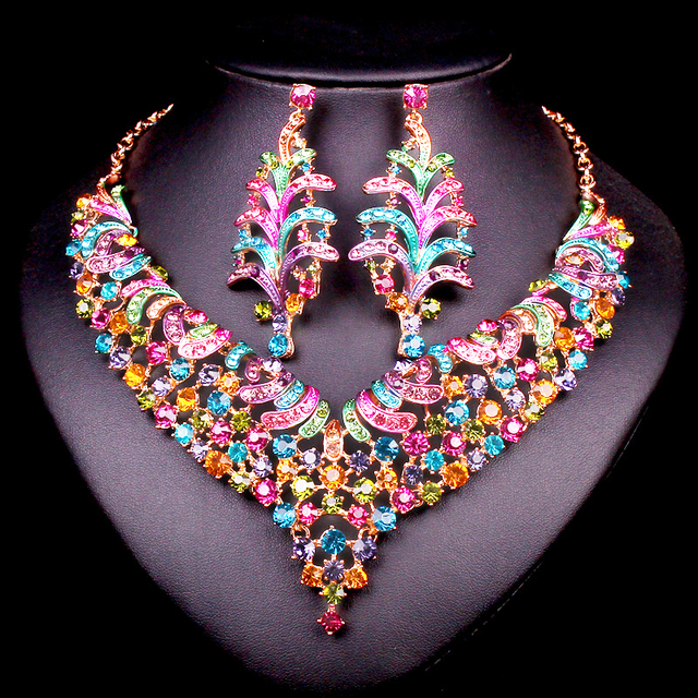 Fashion bridal jewelry sets wedding necklace earrings for brides fashion bridal jewelry sets wedding necklace earrings for brides party costume accessories indian jewellery decoration for junglespirit Choice Image