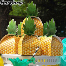 OurWarm 12pcs Pineapple Candy Box Fruit Party Hawaiian Luau Boxes Summer Gift Bags Birthday Wedding Supplies