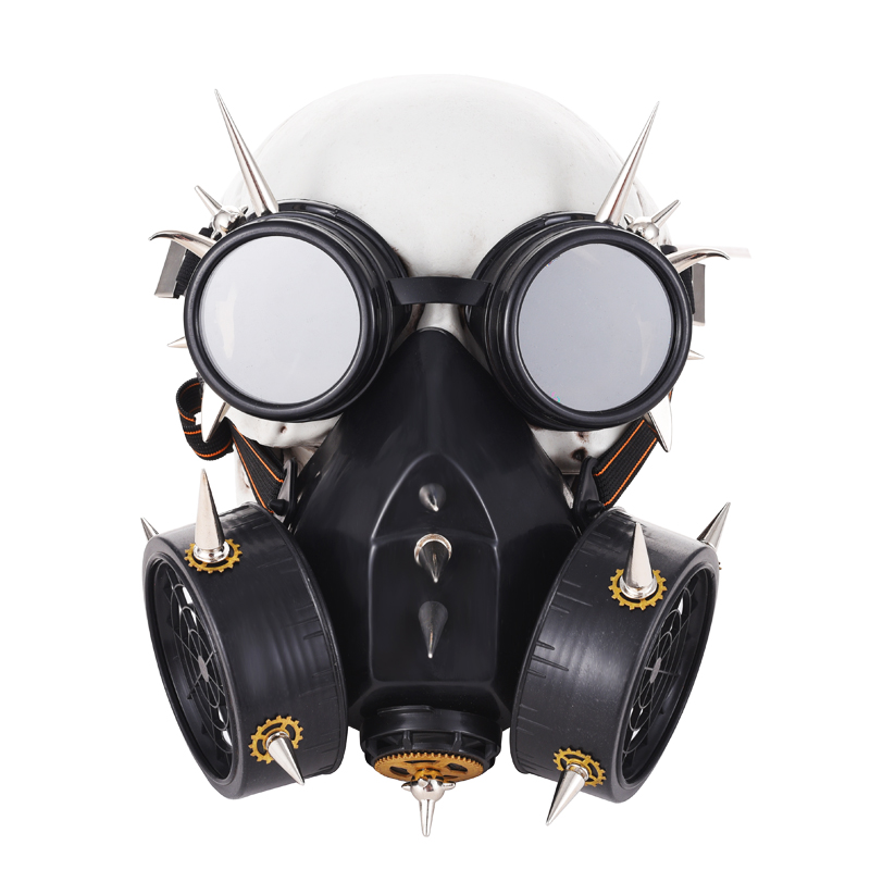 Boys Costume Accessories Black Plastic & Bronze Resin Rivet Retro Rock Full Face Respirator Gas Mask Goggles Halloween Gothic Accessories Steampunk Props