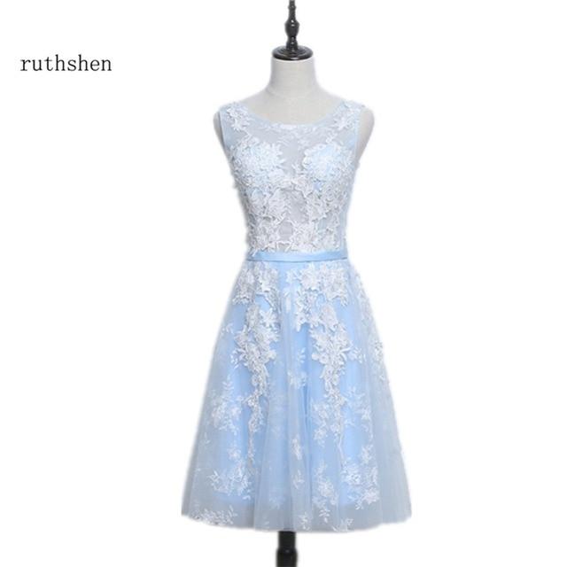 ruthshen Short Light Blue Prom Dresses Lace Applique Knee Length ...