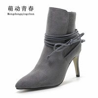 Winter Boots 2016 Womens Lace Up Pointed Toe Suede Boots Sexy High Heels Ankle Boots Autumn