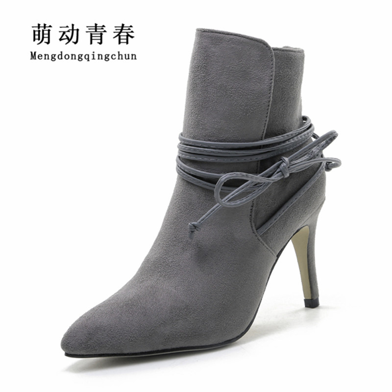 Winter Boots 2016 Womens Lace Up Pointed Toe Suede Boots Sexy High Heels Ankle Boots Autumn Shoes Woman Fur inside Zapatos Mujer high quality winter autumn ankle boots for woman high heels pointed toe shoes slip on womens short boots black ladies boots