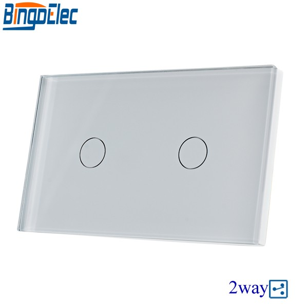 Bingoelec US/AU Standard White Crystal 2gang 2way Toughened Glass Panel Touch Switch,Electric Wall Light Switch,Good Quality free shipping us au standard touch switch 2 gang 1 way control crystal glass panel wall light switch kt002us