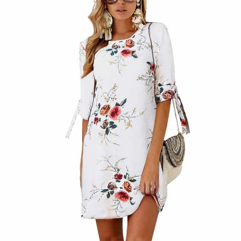 Летние пляжные платья 2019, шифоновое мини-платье с цветочным принтом, женское элегантное платье с коротким рукавом, туника, женская одежда для вечеринки