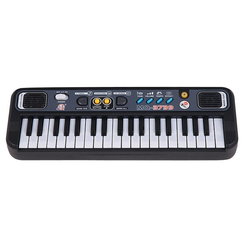Многофункциональное мини-электронное пианино с микрофоном Abs детская портативная 37 клавишная цифровая музыкальная клавиатура electone подарок - Цвет: Black