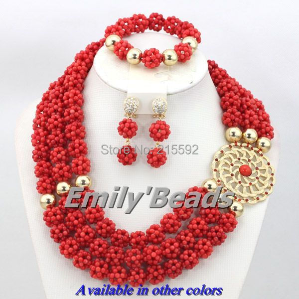 цена African Jewelry Sets Red/Pink Nigerian Wedding Coral Beads Jewelry Sets 3 Layers Indian Bridal Jewelry Free Shipping CJ258