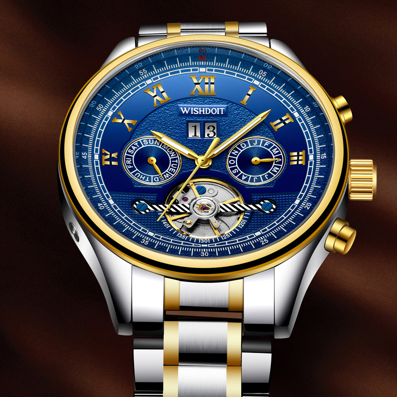WISHDOIT New mens watches top brand luxury Fashion casual business sports men automatic mechanical watchs Men's watch Male clock wishdoit men mechanical watches sports business waterproof casual fashion steel men s watch military male clock top luxury brand