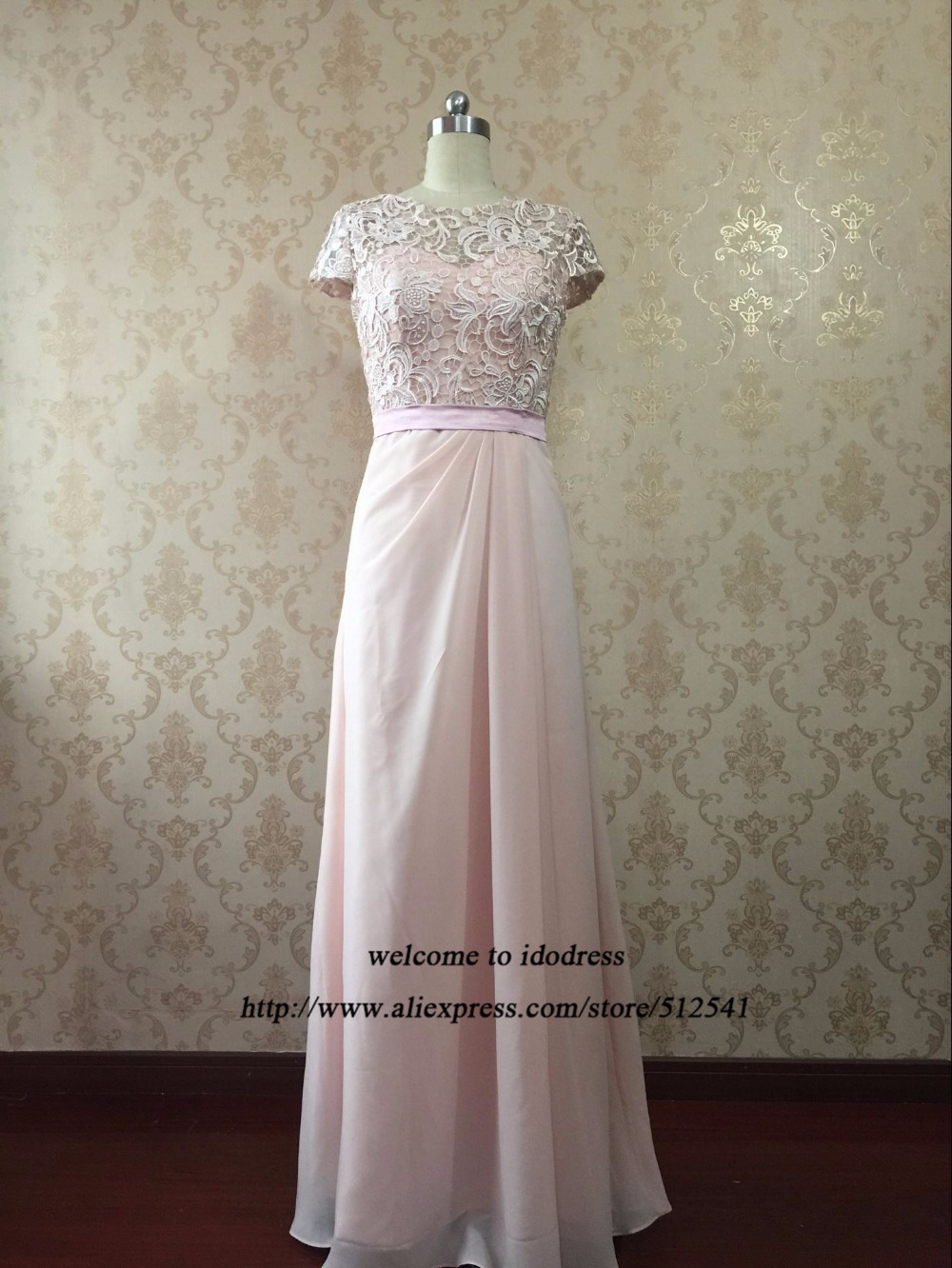 New Arrival Simple Chiffon Lace Mother Of The Bride Dresses Plus Dresses Cap Sleeves Pink Evening Gowns