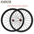 OZUZ 25mm de largura clincher rodas Novatec A271SB/Powerway Hubs R13 38mm 3 50mm rodas de carbono K roda de bicicleta 700c brilhante ou fosco