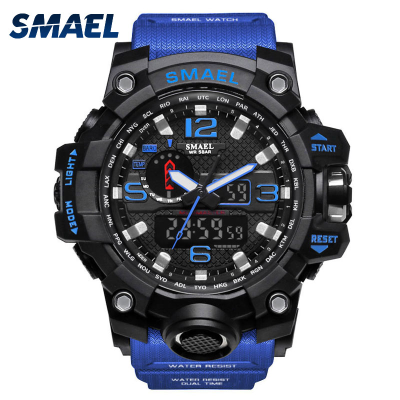 SMAEL Dual Display Digital LED Men Watch Pointer Type Quartz Electric Watches Relogio Masculino Uomo Sport Clock 1545 smael 1708b