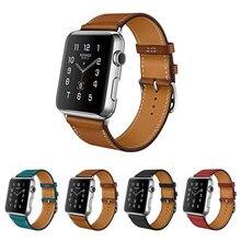 100% Correa De Piel Genuina para Apple Venda de Reloj Serie 3/2/1 de Cuero 42 MM 38 MM Para Iwatch Venda de Cuero