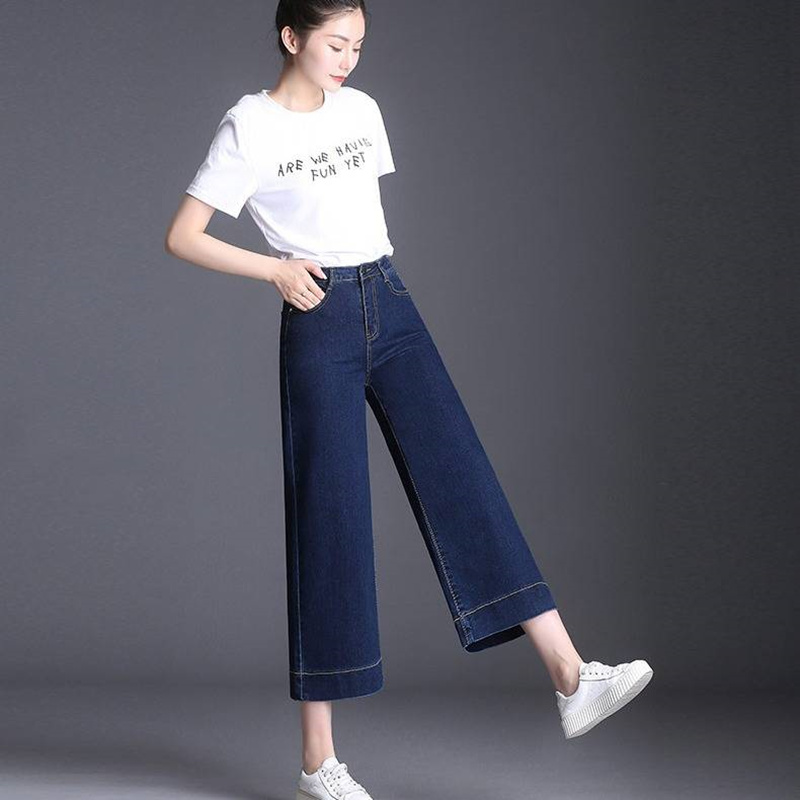 2019 Summer Women Denim Blue   Jeans   Trousers Ankle-length High Waisted Autumn Loose Wide Leg Pants Big Sizes