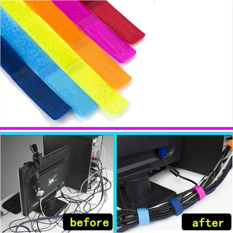 10pcs/lot Bobbin winder Cable Wire Organiser Management Marker Holder Cord Ties magic tape Lead Straps For TV Computer 180x20mm