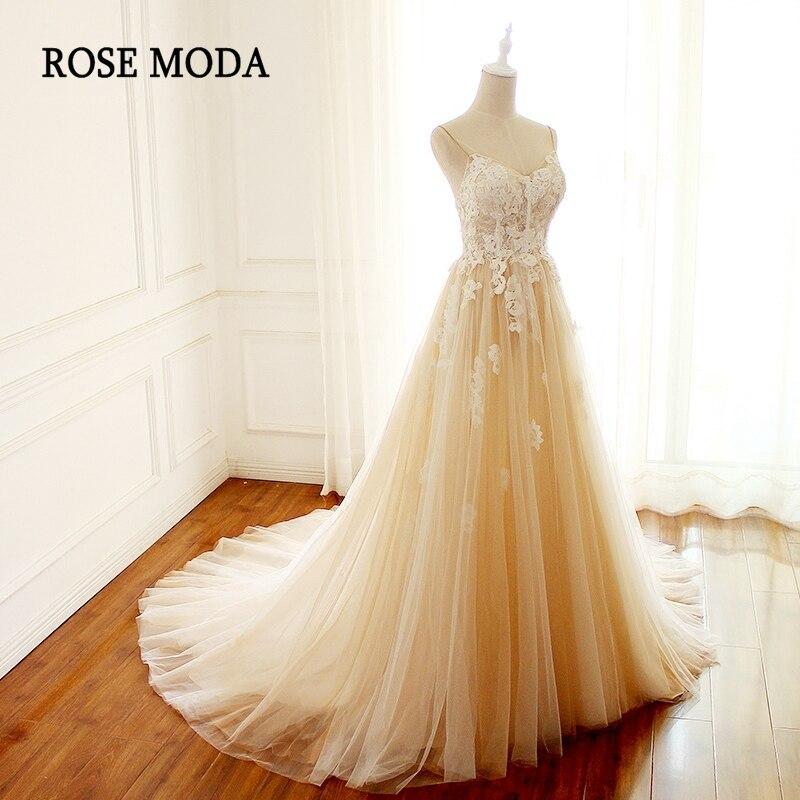 Rose Moda Boho Robe De Mariée 2018 V Cou Champagne Robes De Mariée avec Ivoire Dentelle Réel Photos