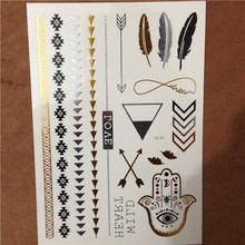 Hot Fashion 1 Sheet Temporary Tattoos Metallic Tattoo Jewelry Fancy Flash Body Gold Silver Tatoo