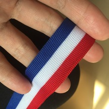 25mm 5yards/lot Polyester striped Green Red white Blue can stretch with micro el
