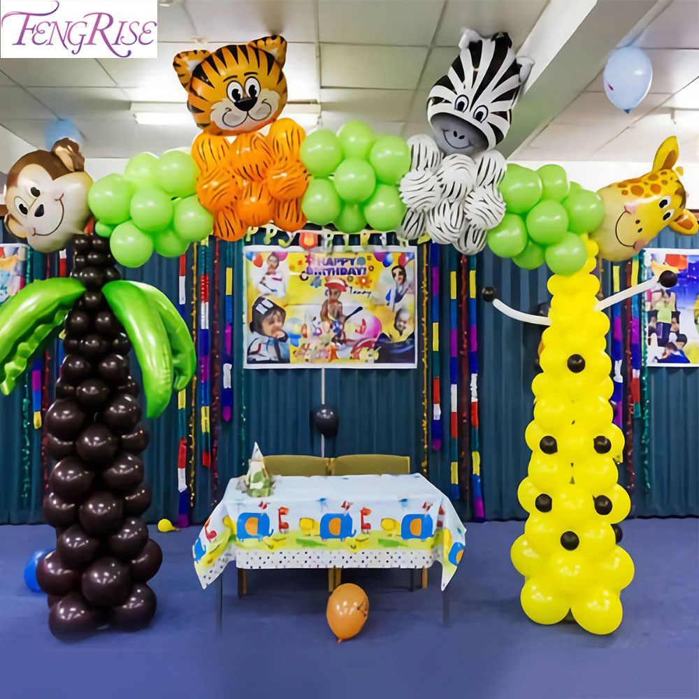 FENGRISE Diy Figure Number Ballon Walking Animal Balloon Forest Baloon Animals Birthday Jungle Safari Party Decorations