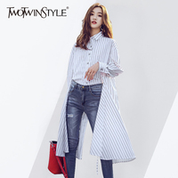 TWOTWINSTYLE Striped Long Shirt Female Lapel Collar High Split Draw String Asymmetrical Blouse For Women 2018 Spring Fashion New