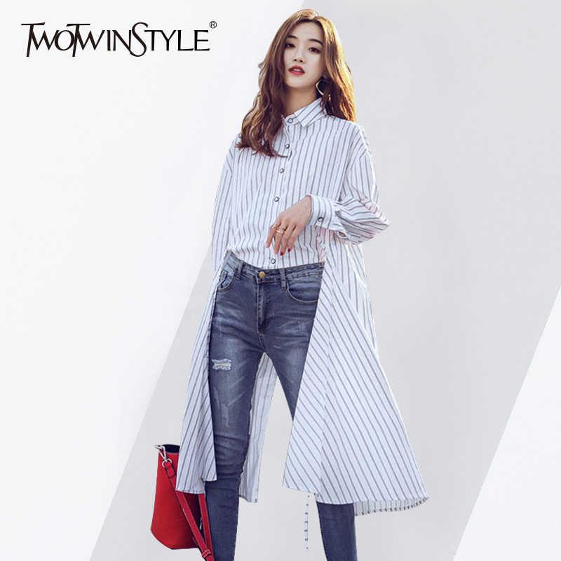 9d9ca44409d TWOTWINSTYLE Полосатый Длинная рубашка Женский воротник с лацканами высокое  разделение ничья строка асимметричный блузка для женщин