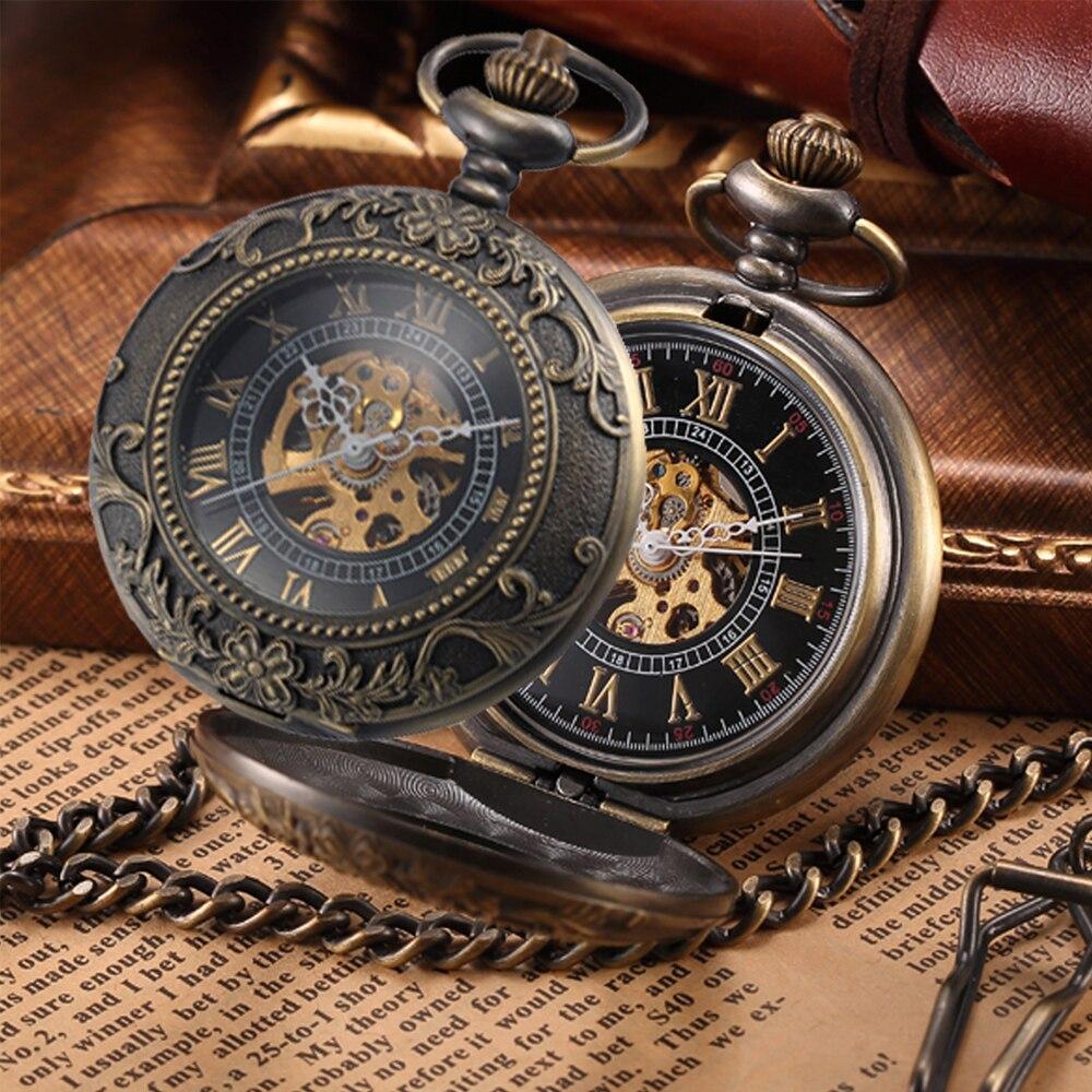 Steampunk Mechanical Pocket Watch Men Retro Pendant Watch Chain Vintage Necklace Mechanical Hand Wind Clock Pocket Watch Gifts 1