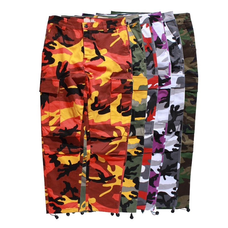 ICPANS Cargo Pants Men Joggers Full Length Cotton Pockets Pant Casual  Orange Red Purple Pink Camo Pants Male Streetwear Trousers bf1335ef411
