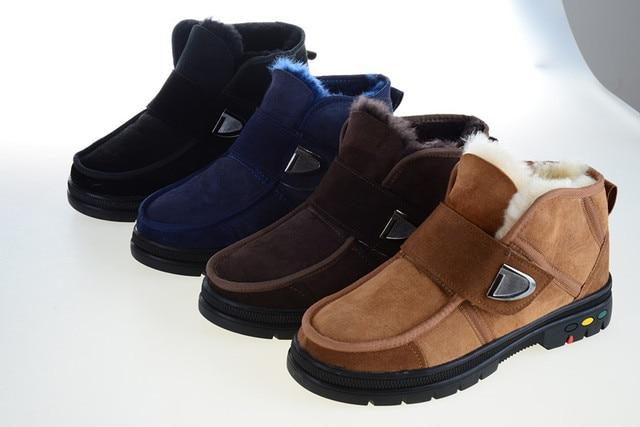 2019 kış yeni stil kar botları koyun derisi çizmeler erkek ayakkabı koyun kürk çizmeler erkekler yarım çizmeler yün ayakkabı