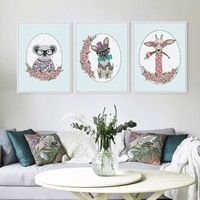 Триптих животные цветок Жираф собака коала настенная живопись Большой АРТ ПРИНТ плакат Kawaii стены картину для детей Детская комната украшен...